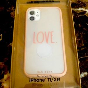Rae Dunn iphone 11 XR case white With pink LOVE